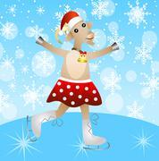merry goat in a skirt on skates - stock illustration