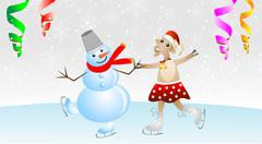 Stock Illustration of merry goat in a skirt and snow man on skates