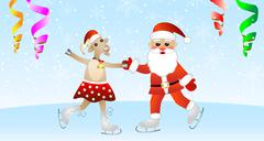 Merry goat in a skirt and santa claus on skates Stock Illustration