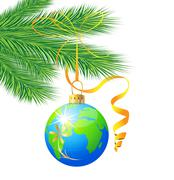 Festive toy ball as a planet earth Stock Illustration