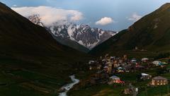 Ushguli village in the Caucasus valley - stock photo