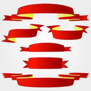 decoration red bow set  - stock illustration