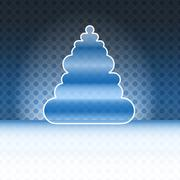 Stock Illustration of round shape christmas tree blue spotted background vector card
