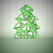 Green triangle outline christmas tree cluster vector card Stock Illustration