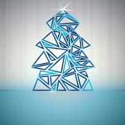 blue triangle outline christmas tree cluster vector card - stock illustration