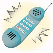 Isolated old blue metal shaded old handset phone vector illustration Stock Illustration
