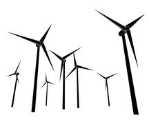 Isolated wind energy power vector silhouettes vector illustration Stock Illustration