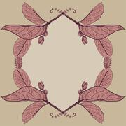 Leaves contours  floral border. sketch frames, hand-drawn. vector Stock Illustration