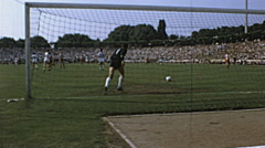 Bundesliga 1970s match: goalkeeper return the ball in slow motion Stock Footage