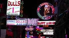Neon Signs nightlife clubs in Walking Street . Pattaya, Thailand Stock Footage