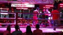 "Thai men players in Muaythai "" Muay Thai "" in Walking Street. Pattaya, Thailand Stock Footage"