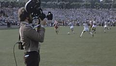 Bundesliga 1970s match: cameraman behind the goal Stock Footage