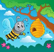 cartoon bee with hive - illustration. - stock illustration