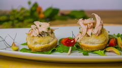 Chicken breasts canape Stock Footage