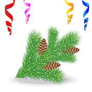 Stock Illustration of branch of christmas tree with cones