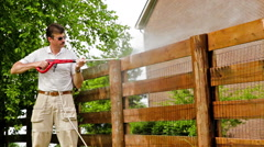 Fence power washing Stock Footage