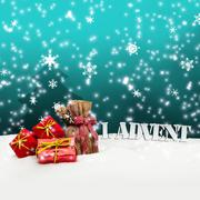 1. advent - gifts - turquoise - snow Stock Illustration