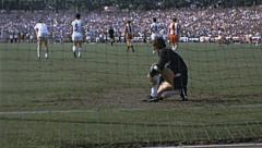 Bundesliga 1970s match: Msv Vs Bayern Munich, goalkeeper injured Stock Footage