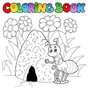 Coloring book ant near anthill - illustration. Stock Illustration