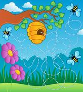 bee theme maze - illustration. - stock illustration