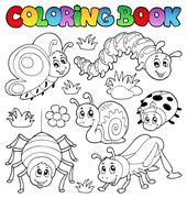 coloring book cute bugs - illustration. - stock illustration