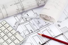 blueprint for a house - stock photo