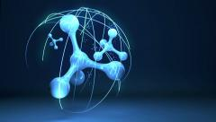 Carbon atom molecule animation background Stock Footage