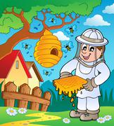 beekeeper with hive and bees - illustration. - stock illustration