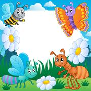 frame with bugs theme - illustration. - stock illustration
