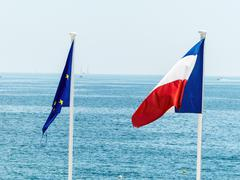 Eu and french flags Stock Photos