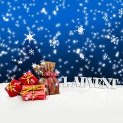 Stock Illustration of 1. advent - gifts - blue - snow