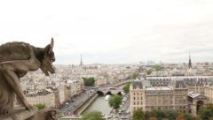 View of Eiffel Tower and Gargoyle of Notre Dame - stock footage