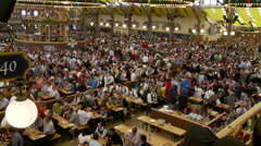 Crowds Of People Inside Beer Venue Octoberfest Stock Footage