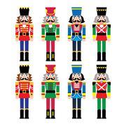 Christmas nutcracker - soldier figurine icons set Piirros