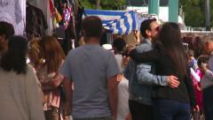 Shoppers at Sunday market, Spain Stock Footage