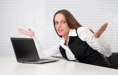 confused businesswoman - stock photo