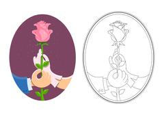 Stock Illustration of Couple of hands hold rose