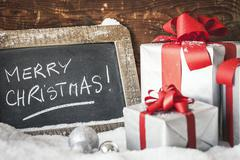Crop of christmas gifts Stock Photos