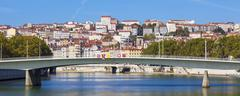 panoramic view on lyon and saone rive - stock photo
