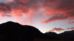 Red sky and mountains Stock Footage