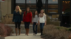 Young People Women Walking Holiday Shopping - stock footage