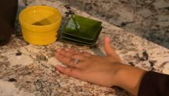 Woman's Hands Granite Counter Top 2 Stock Footage