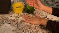 Woman's Hands on Granite Counter Top Stock Footage