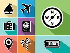 Stock Illustration of travel abroad flat icons set design
