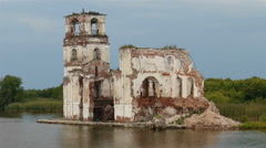 Flooded Ruins of old orthodox church Stock Footage