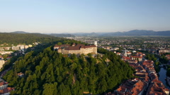 Aerial - Castle on the hill above the city Stock Footage
