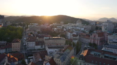 Aerial - Urban city at sunset Stock Footage