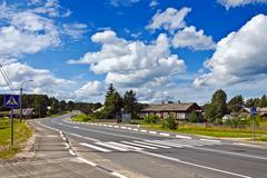 Federal highway m18 kola of saint-petersburg - murmansk. karelia, russia Stock Photos