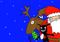 Christmas card, Santa with his reindeer and little evil helper Stock Illustration