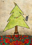 Christmas card, christmas tree with whiskers and cell phone - stock illustration